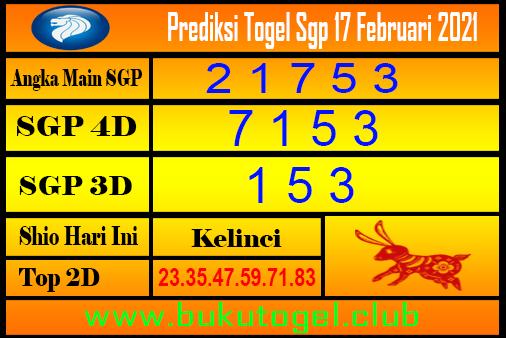 Perkiraan Sgp untuk 17 Februari 2021