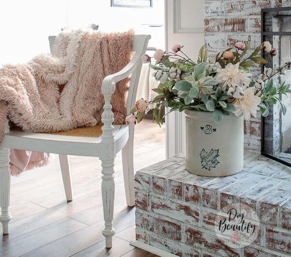 blush pink throw and cottage flowers