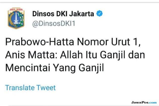 Unggah Berita Soal Prabowo Nomor Urut 1, Dinsos DKI Sebut Akunnya Diretas