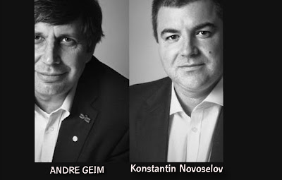 Image of Andre Geim and Konstantin Novoselov who won the nobel prize in physics in 2010 for the discovery of graphene just by the use of a pencil and cellophane