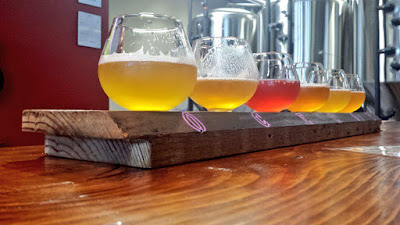 Samples at Ocelot Brewing.