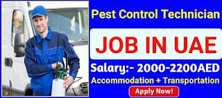 Pest control Technician or Operator with 12th Class pass Job Recruitment in Dubai   Visa Provide By Company