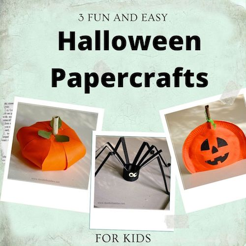 easy paper pumpkin and paper spider craft