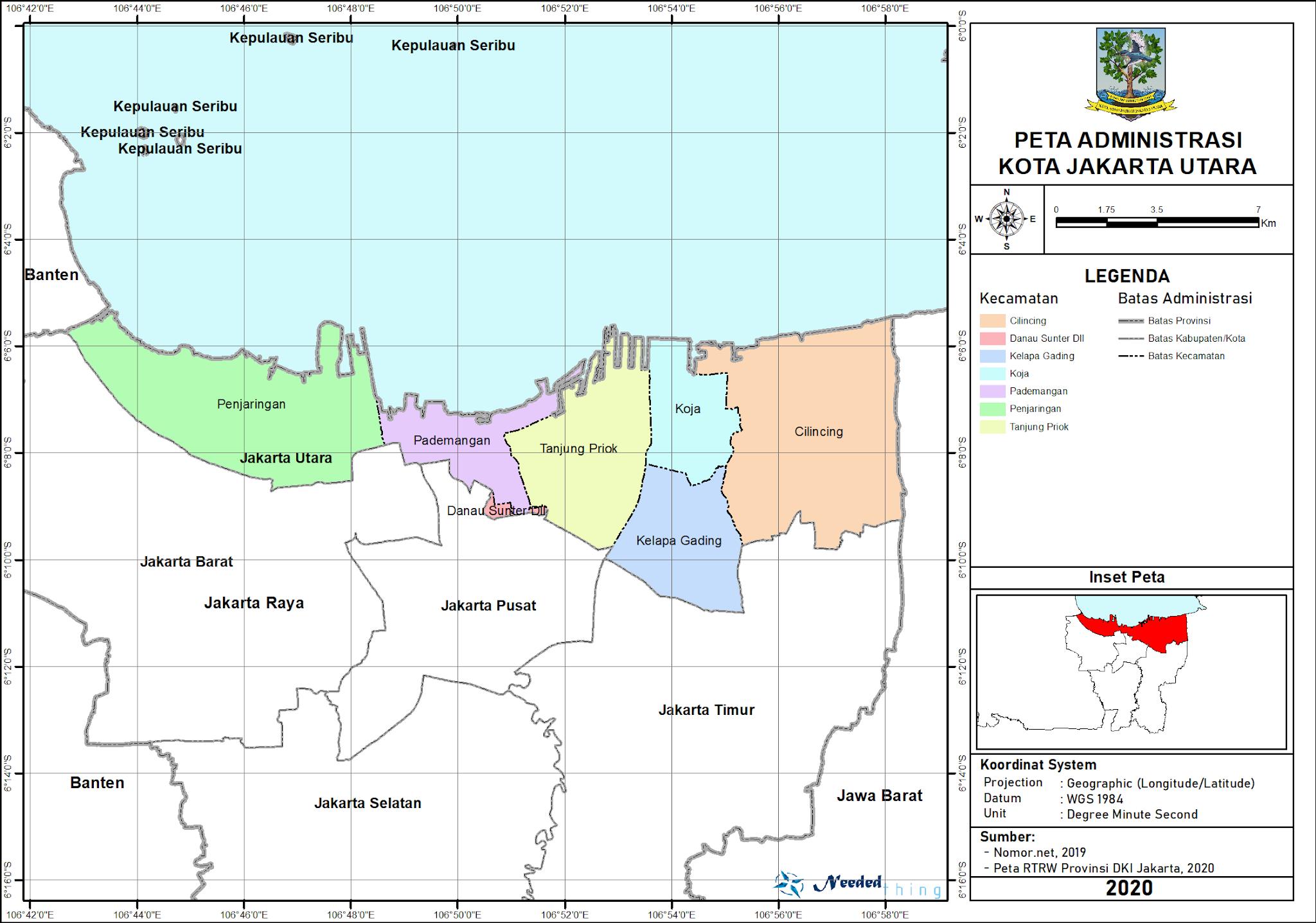 Peta Administrasi Kota Jakarta Utara, Provinsi DKI Jakarta ...