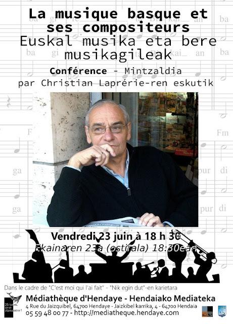 Conférence musique basque et ses compositeurs Hendaye