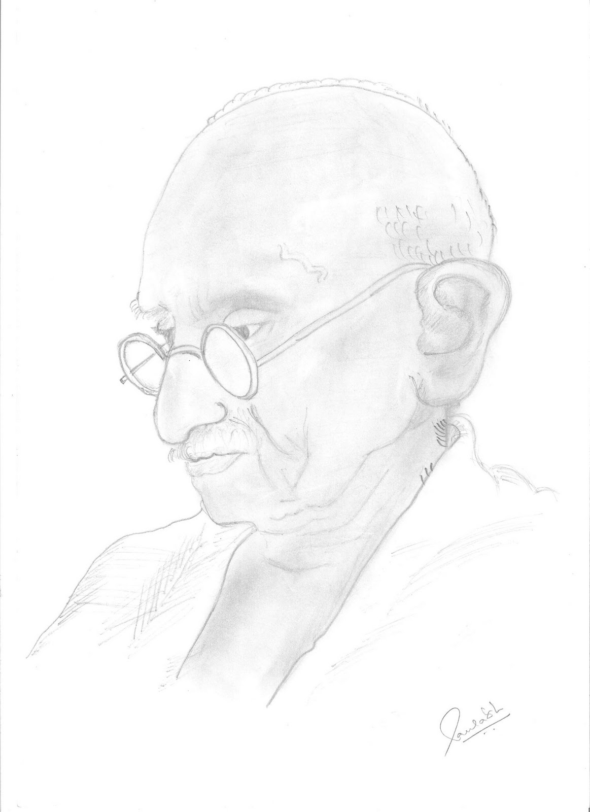 Mahatma Gandhi Outline Coloring Pages