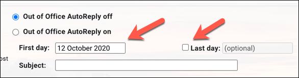 """قدِّم النطاق الزمني لرسالة المجيب التلقائي / خارج المكتب للتقديم منها في مربعي التاريخ """"اليوم الأول"""" و """"اليوم الأخير"""""""
