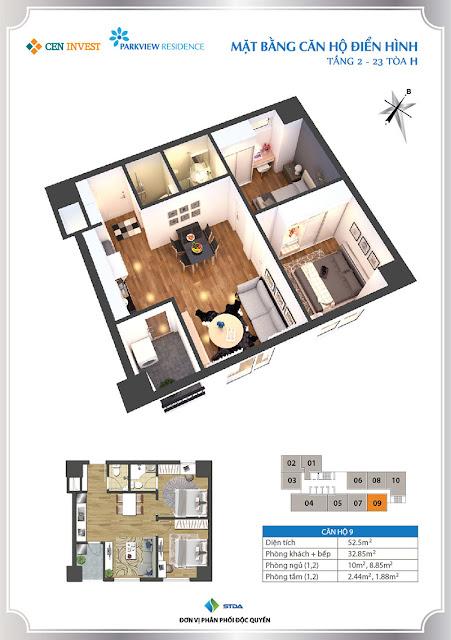 Thiết kế căn hộ 09 chung cư Park View Residence