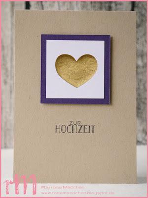 Stampin' Up! rosa Mädchen Kulmbach: Hochzeitskarten clean & simple mit Gold