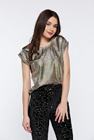 Bluza dama Top Secret aurie de party cu croi larg cu aspect metalic