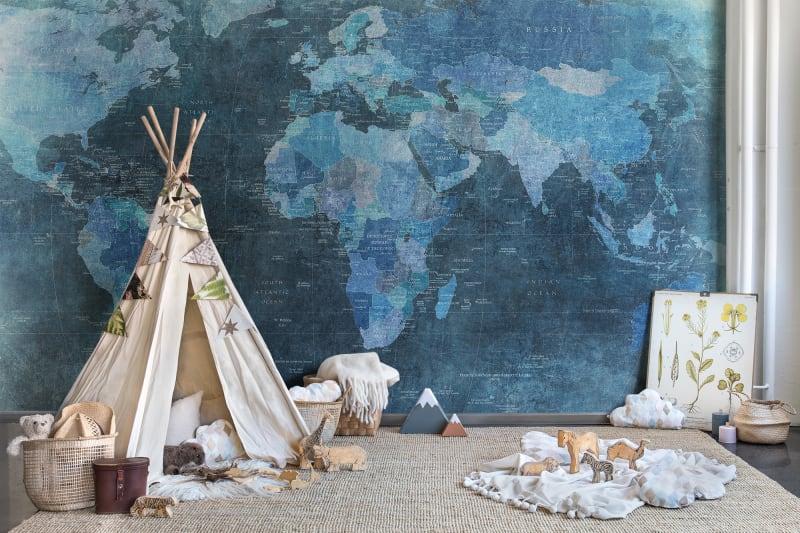 Mapa świata w pokoju dziecka
