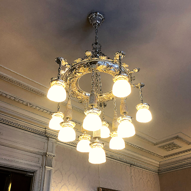 Opulent chandelier at Glensheen