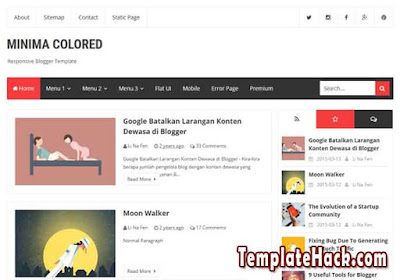 new minima colored redesign blogger template