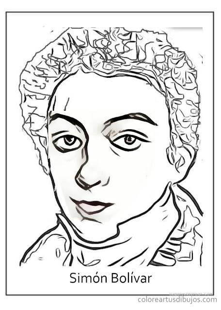 Simón Bolivar niño para colorear