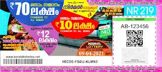 Kerala Lotteries Results 09-04-2021 Nirmal NR-219 Lottery Result