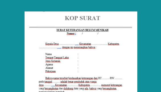 Contoh Surat Keterangan Belum Menikah Dari Kelurahan