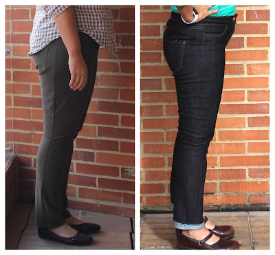 Sewing pattern comparison of the Liana Stretch Jeans vs. the Ginger Jeans.