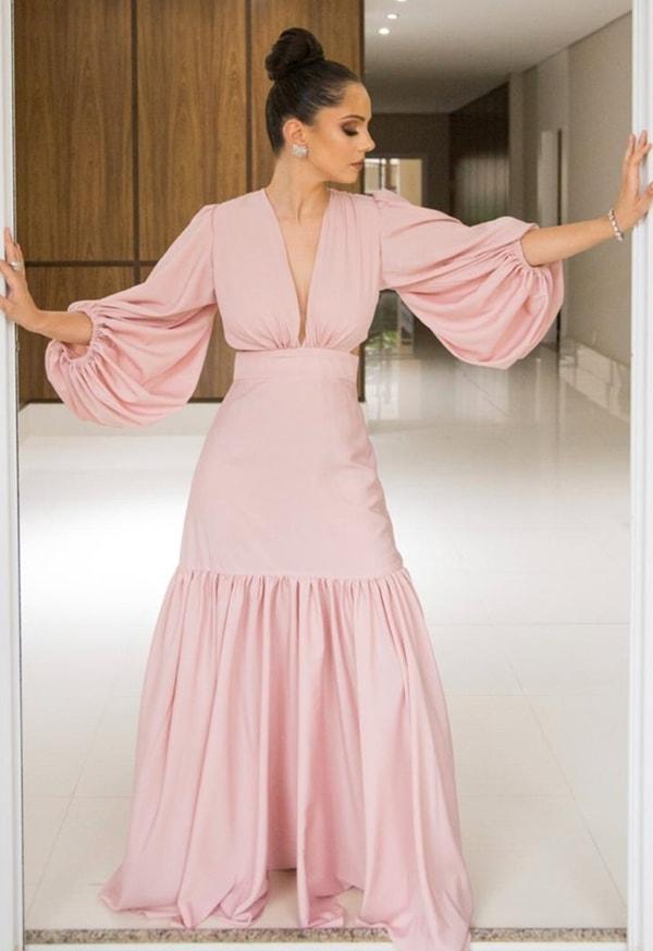 vestido longo rose com manga longa