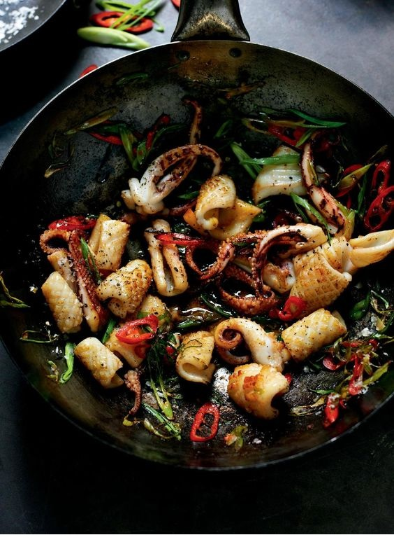 Stir-Fried Salt And Pepper Squid With Red Chilli And Spring Onion