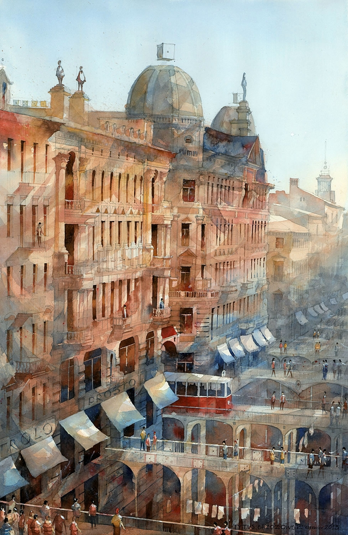 02-Bridges-Tytus-Brzozowski-Architecture-Meets-Watercolors-Paintings-in-Warsaw-www-designstack-co
