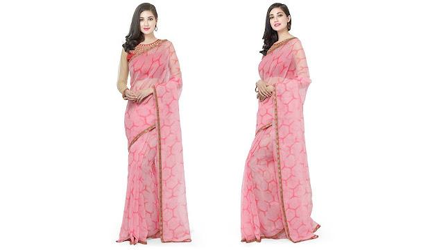 Divastri Self Design Fashion Net Saree  (Pink)
