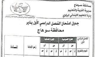 مواعيد امتحانات المرحلة الابتدائية ترم أول محافظة سوهاج