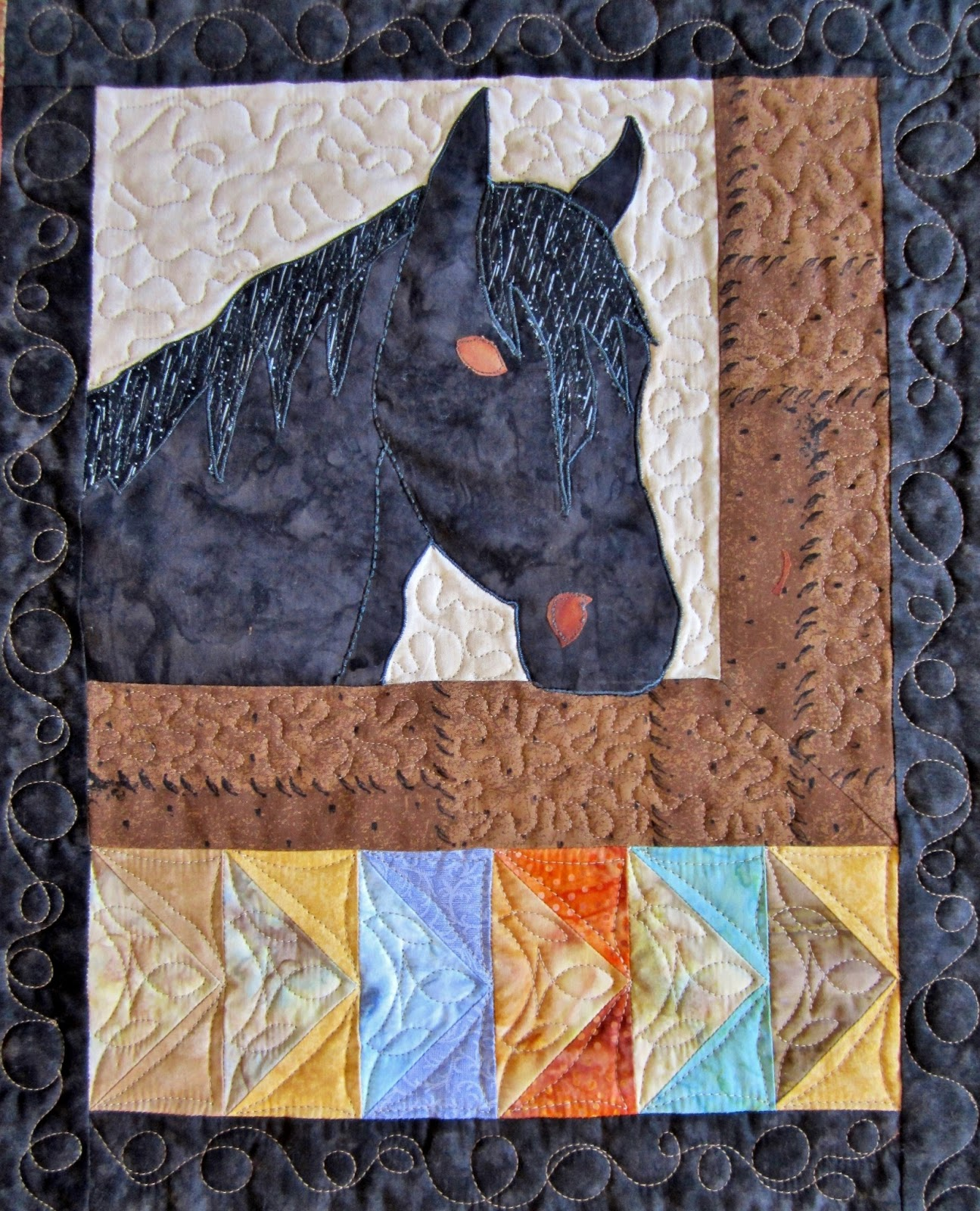Roberta's Custom Quilting: Horse Applique Quilt