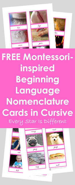 Montessori-inspired Beginning Language Nomenclaure Cards in Cursive (Free Printable)