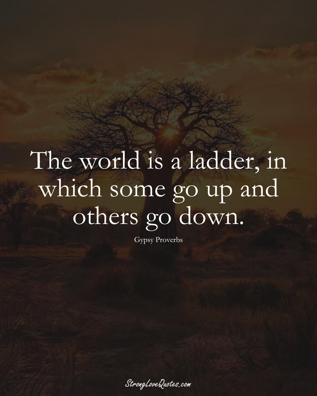 The world is a ladder, in which some go up and others go down. (Gypsy Sayings);  #aVarietyofCulturesSayings