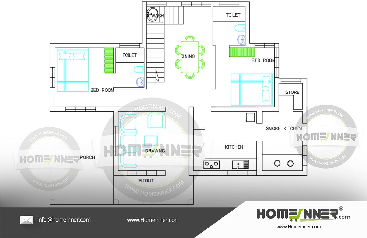 900 sq ft 2 Bedroom Kitchen Smoke kitchenFree house plan
