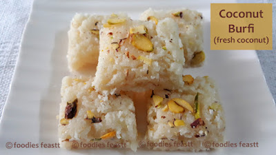 Fresh Coconut Burfi Recipe – Easy Nariyal Burfi Recipe