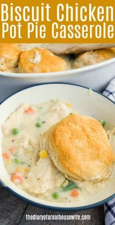 This Biscuit Chicken Pot Pie Casserole has the classic flavor that you love from a pot pie. Skip the crust and just add biscuits instead. It's simple to make a recipe that you are going to love.