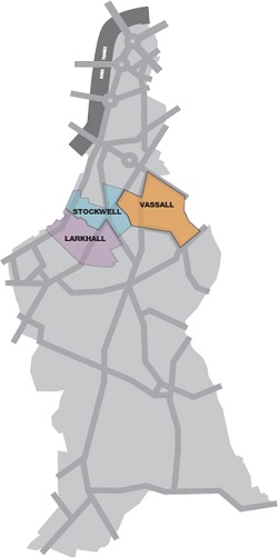 Map of Lambeth showing Larkhall, Stockwell and Vassall wards on lambethcyclists.org.uk