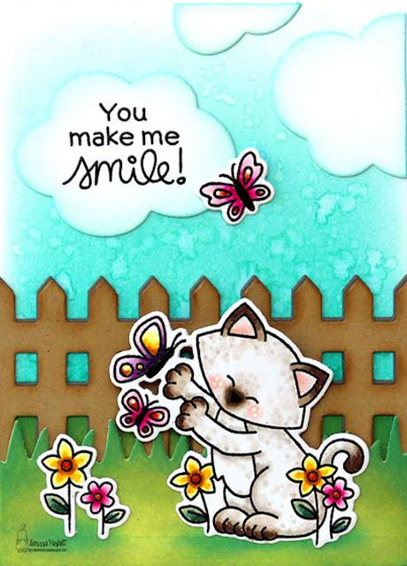 You Make Me Smile Card by Larissa Heskett for Newton's Nook Designs using Newton's Flower Garden, Speech Bubbles Die, Fence Die, Land Borders Die, Frames & Flags Die #newtonsnook #newtonsnookdesigns #newtonsflowergarden
