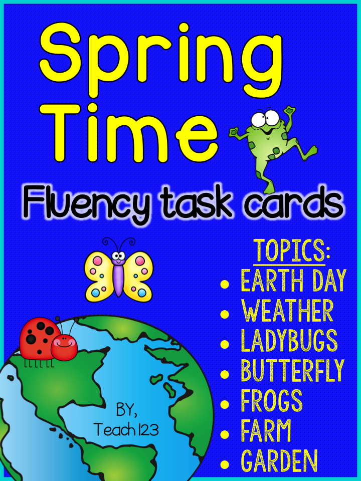 http://www.teacherspayteachers.com/Product/Spring-Fluency-Task-Cards-Earth-Day-Weather-Farm-Garden-Frogs-and-Bugs-1204155