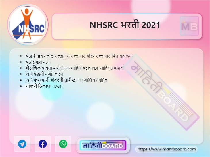 NHSRC Bharti 2021