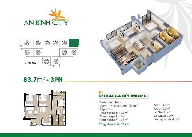 Thiết kế căn hộ 83m, 03 phòng ngủ, An Bình City