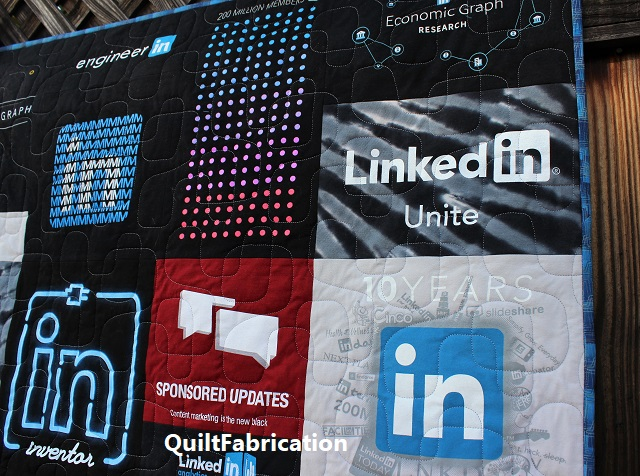 LinkedIn t-shirt quilt closeup 1