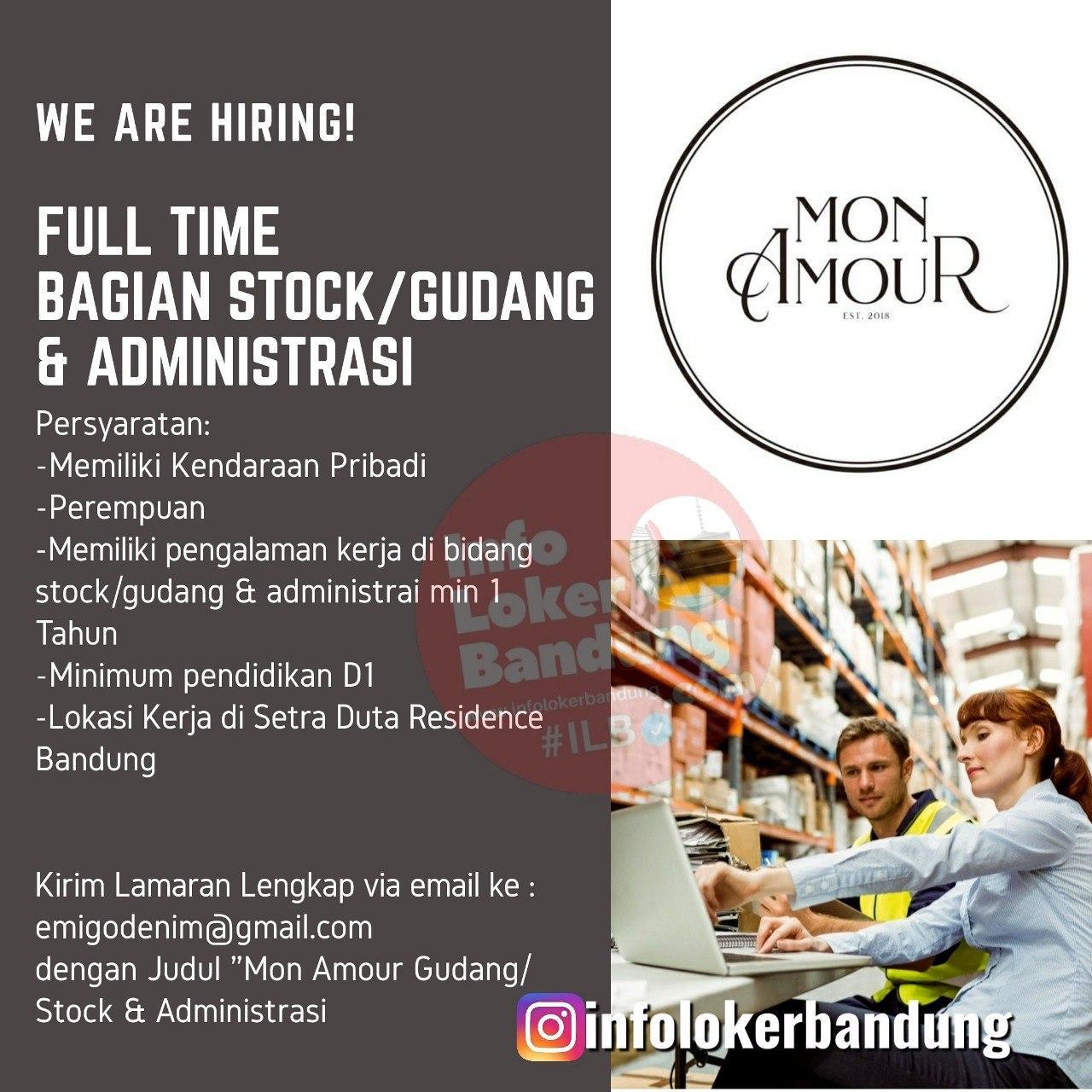 Lowongan Kerja Full Time Bagian Stock / Gudang & Administrasi Mon Amour Bandung Agustus 2020