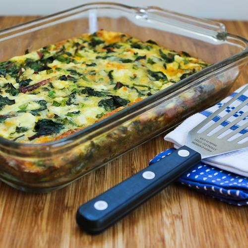 Swiss Chard, Mozzarella, and Feta Egg Bake found on KalynsKitchen.com