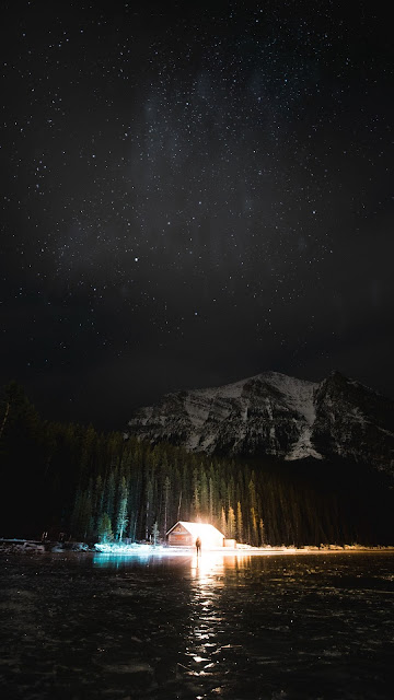 Screen background, Night, Mountain, Lake, Starry sky, Snow.