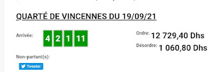 Arrivée DE AGEN DU 19/09/2021 Tiercé et Quinté QUARTE