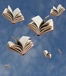 flying books in blue sky