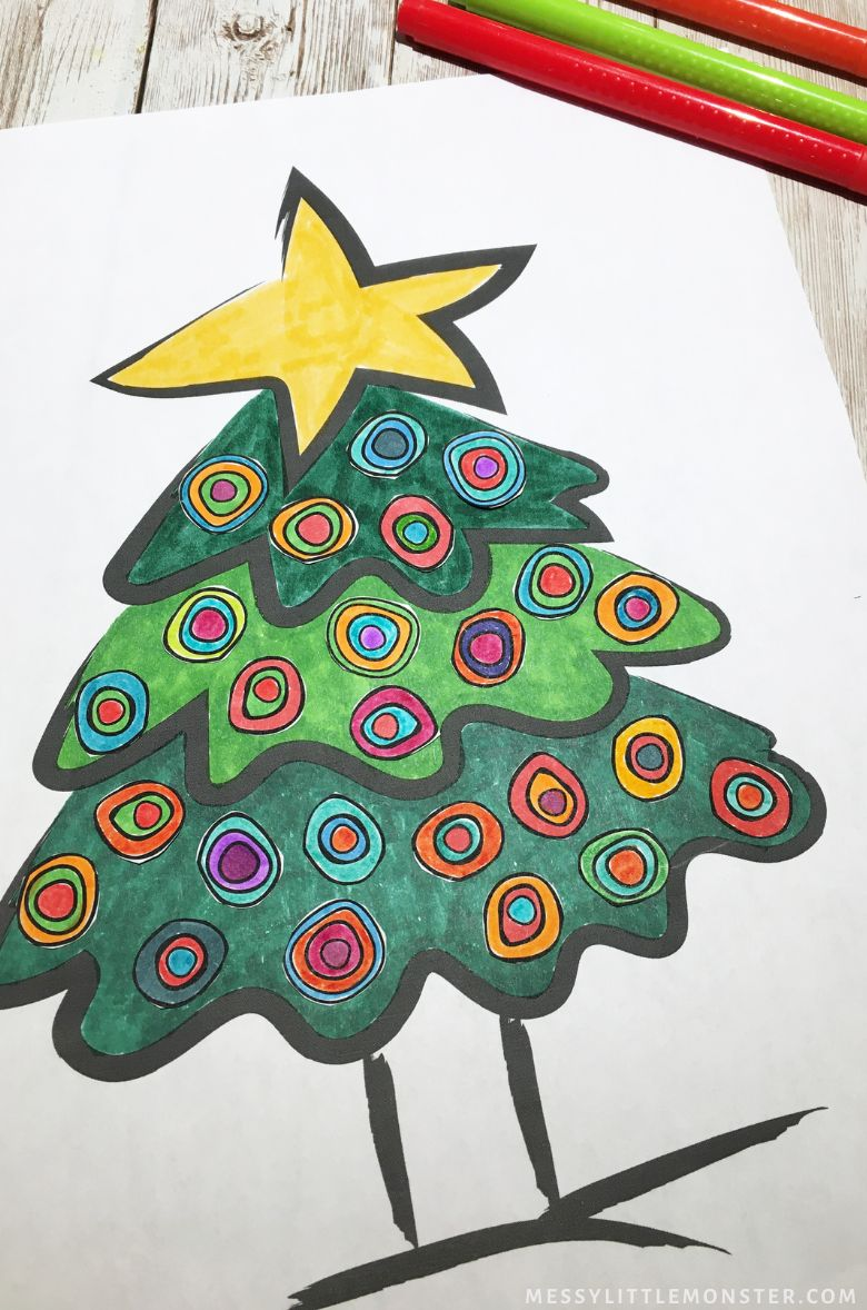 Kandinsky Christmas tree craft for kids