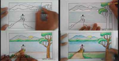 Cara mewarnai gambar pemandangan danau dengan oil pastels