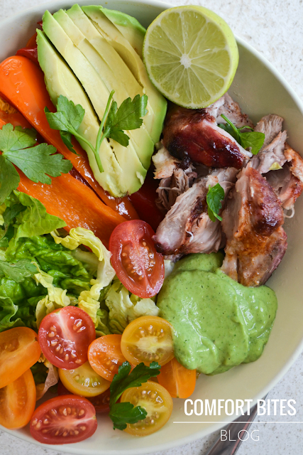 Pork Shank Fajita Bowl with Avocado and Lime Cream