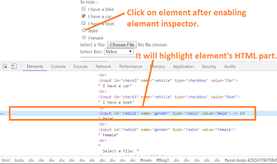 inspecting element in chrome devtool for xpath