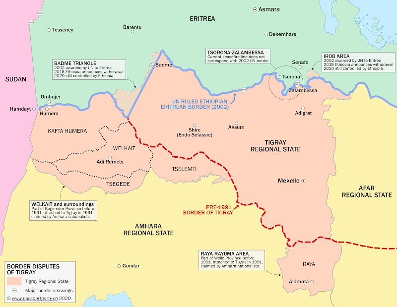 Map of Ethiopia's Tigray state, showing disputed borders with Eritrea and areas contested with other states and parties within Ethiopia.