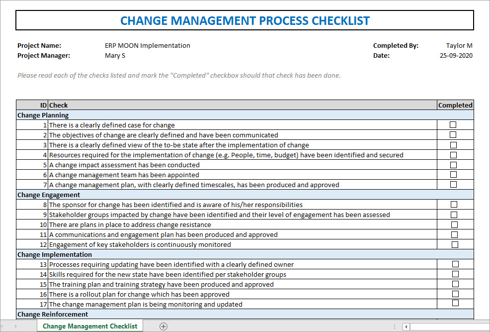 Change Management Process Checklist, change management process
