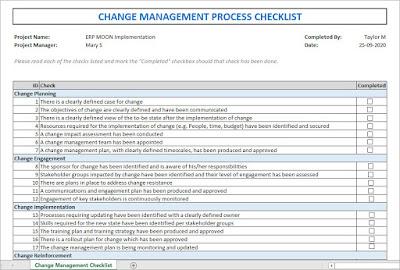 Change Management Process Checklist, change management process